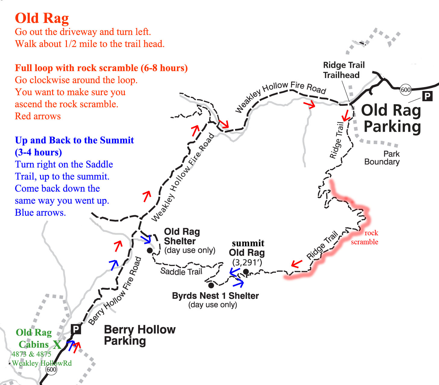 Hiking Old Rag Old Rag Cabins - Old rag map