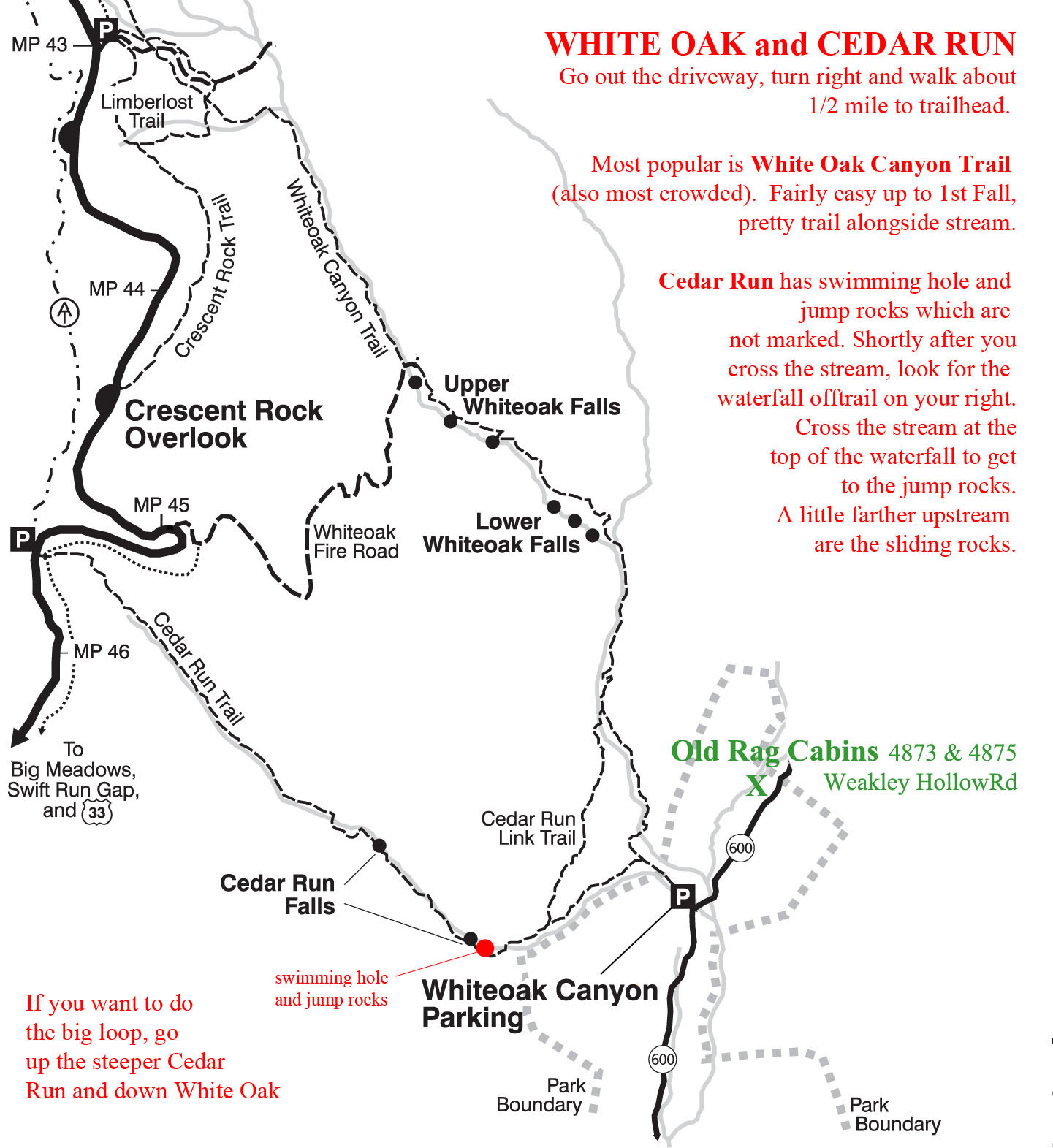 Hiking White Oak Old Rag Cabins - Old rag map